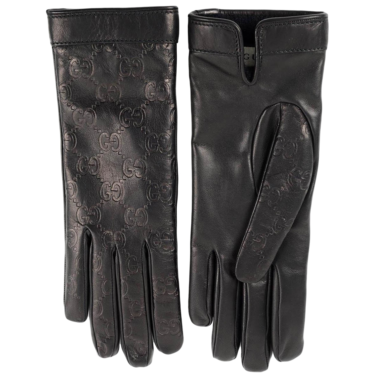 Gucci \N Black Leather Gloves for Women 6.5 Inches
