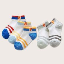 5pairs Toddler Boys Striped Pattern Color Block Socks
