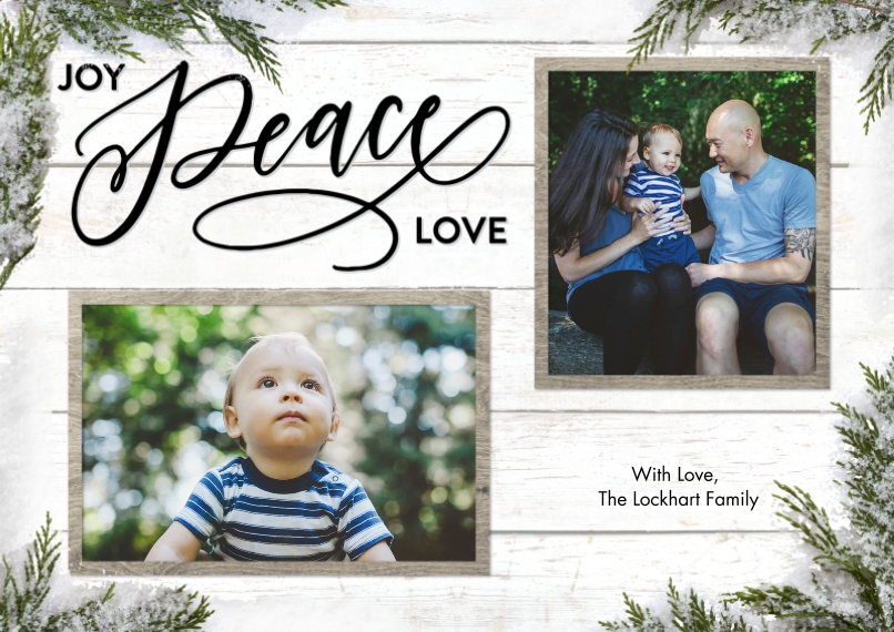 Christmas Photo Cards 5x7 Cards, Premium Cardstock 120lb with Scalloped Corners, Card & Stationery -Christmas Joy Peace Love Greenery by Tumbalina
