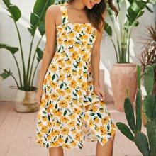 Cami Kleid mit ueberallem Muster und Knopfen