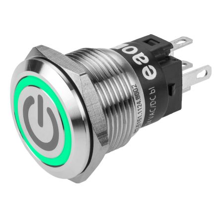 EAO CO Latching Green LED Push Button Switch, IP65, IP67, Panel Mount, 24V ac/dc