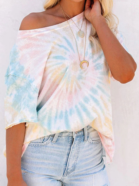 Milanoo Short Sleeves Tees Blue Printed Bateau Neck Cotton Blend Women T Shirt