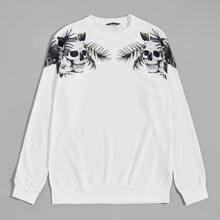 Men Skull and Tropical Print Pullover