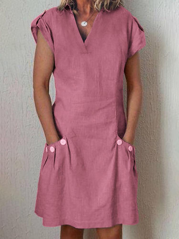 Women V-neck Short Sleeve Button Dress with Pockets