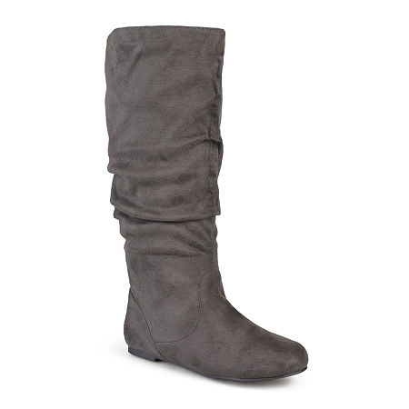 Journee Collection Womens Rebecca Wide Calf Slouch Boots, 10 Medium, Gray