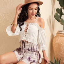 Tie Shoulder Lace-up Front Schiffy Top