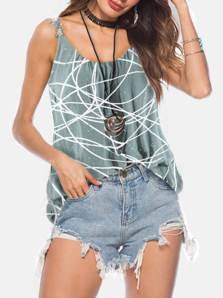 Printed Floral Straps Pleated O-Neck Tank Top