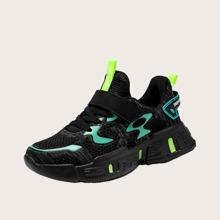 Boys Mesh Panel Velcro Strap Sneakers