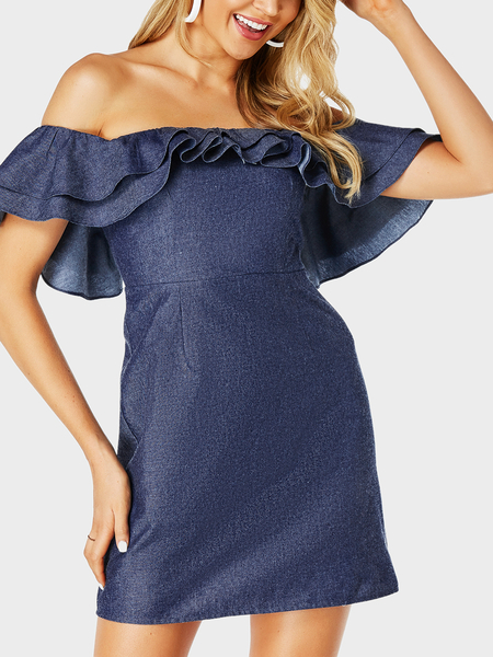 YOINS Blue Ruffle Sleeves Off The Shoulder Dress