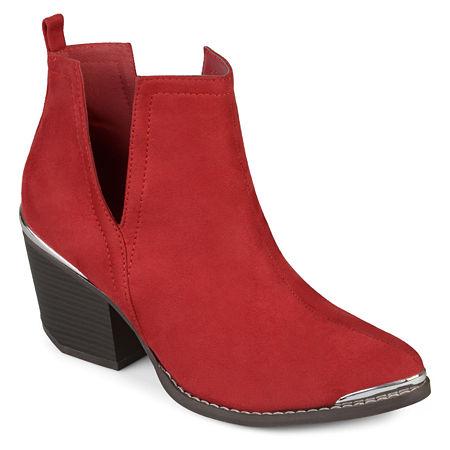 Journee Collection Womens Issla Booties Stacked Heel, 6 1/2 Medium, Red