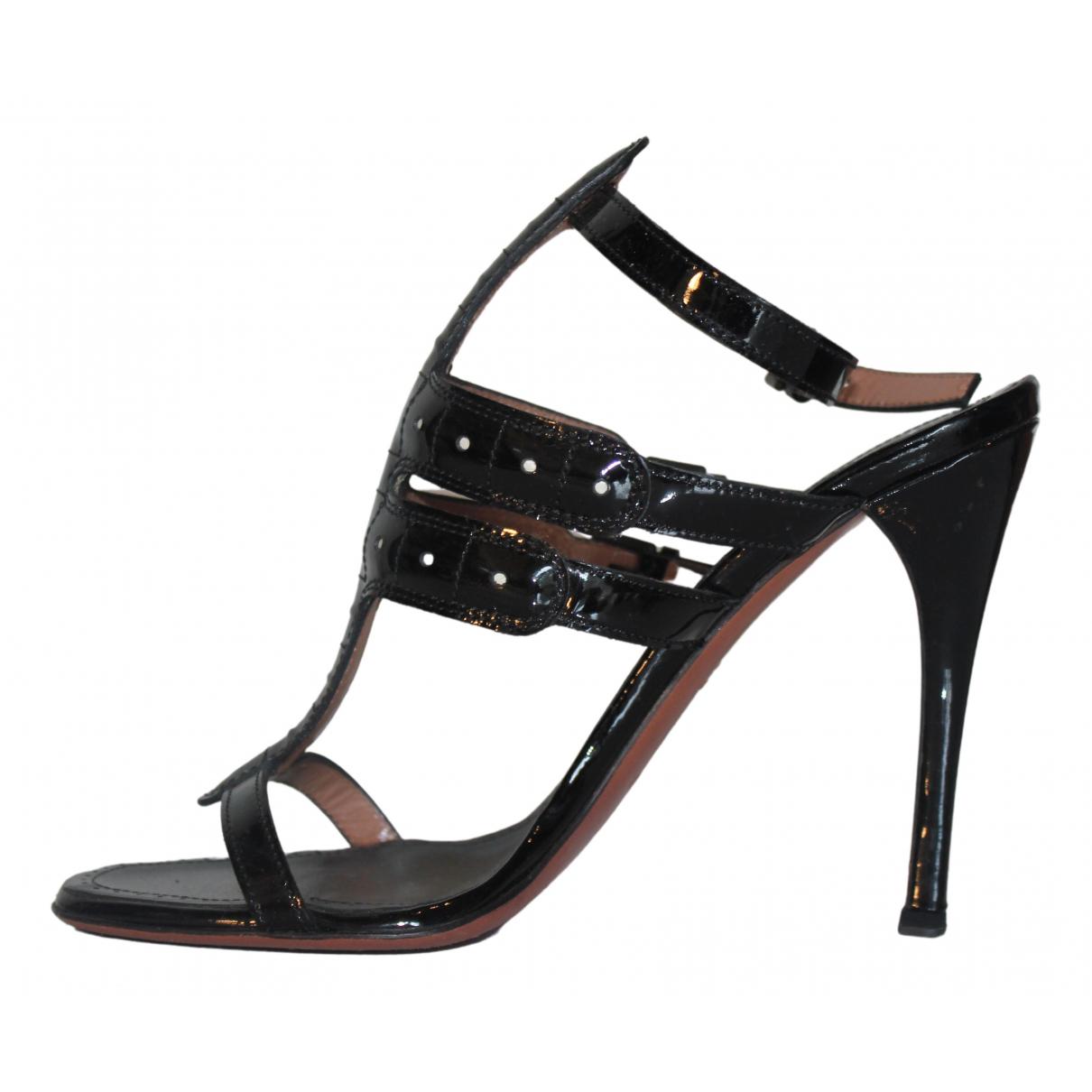 Alaïa N Black Patent leather Sandals for Women 38 EU