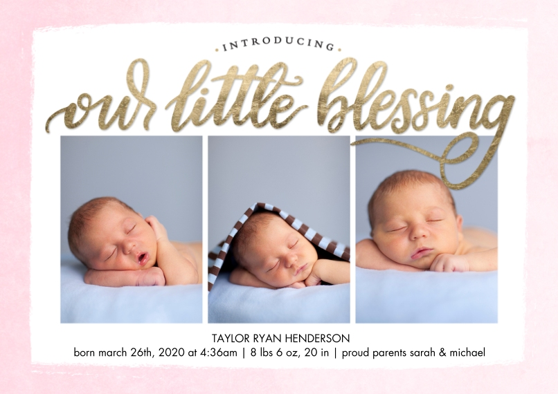 Baby Announcements Flat Matte Photo Paper Cards with Envelopes, 5x7, Card & Stationery -Baby Blessing by Tumbalina