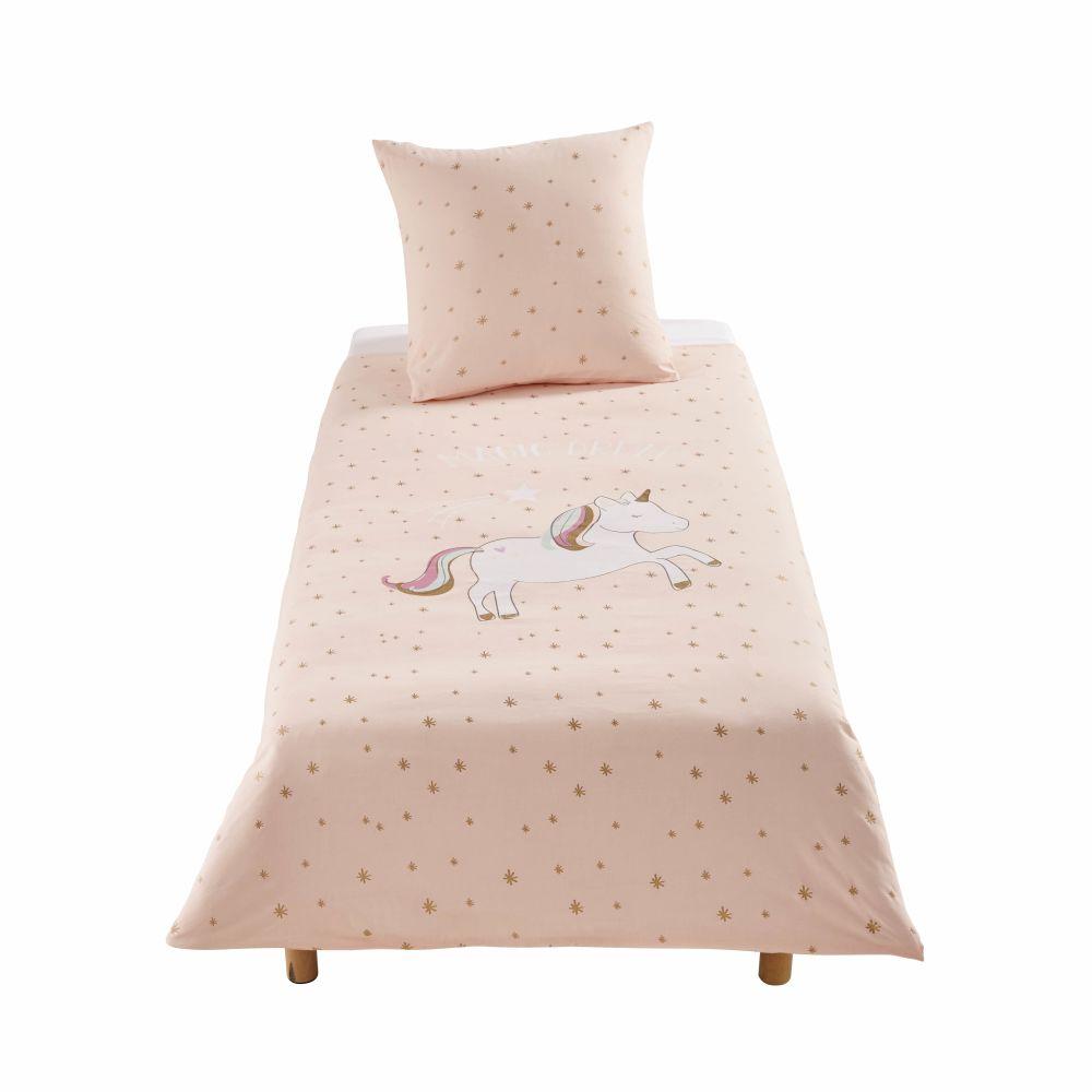 Kinderbettwaesche aus Baumwolle, rosa mit goldenem Sternenmuster 140x200
