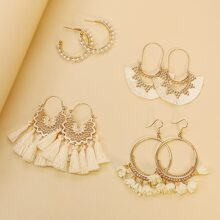 4 Paare Ohrringe mit Quasten Anhaenger