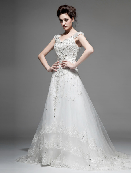 Milanoo Ivory A-line Off-The-Shoulder V-Neck Lace Chapel Train Wedding Gown
