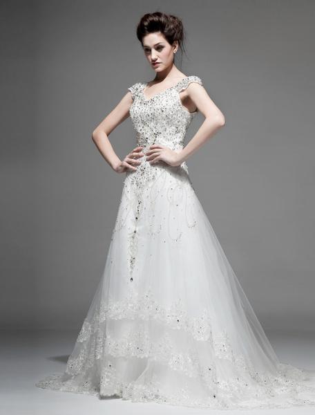 Milanoo Vestido de novia de tul de color marfil con escote en V