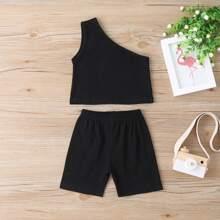 Outfits dos piezas para niña pequeña Liso Negro Deportivo