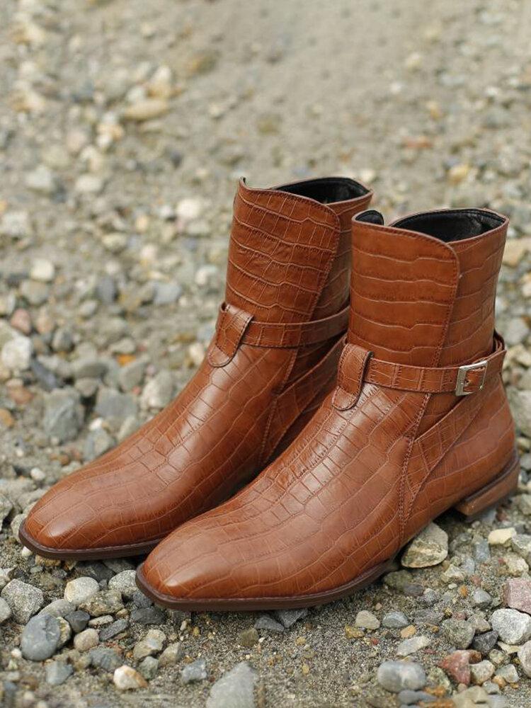 Men Crocodile Pattern Meatl Buckle Short Ankle Dress Boots
