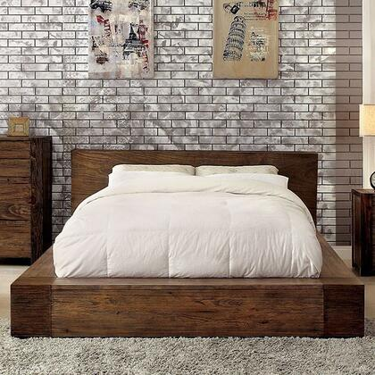 Janeiro Collection CM7628CK-BED California King Size Bed with Low Profile  Modern Low Headboard Design  Slat Kit Included and Wood Veneers