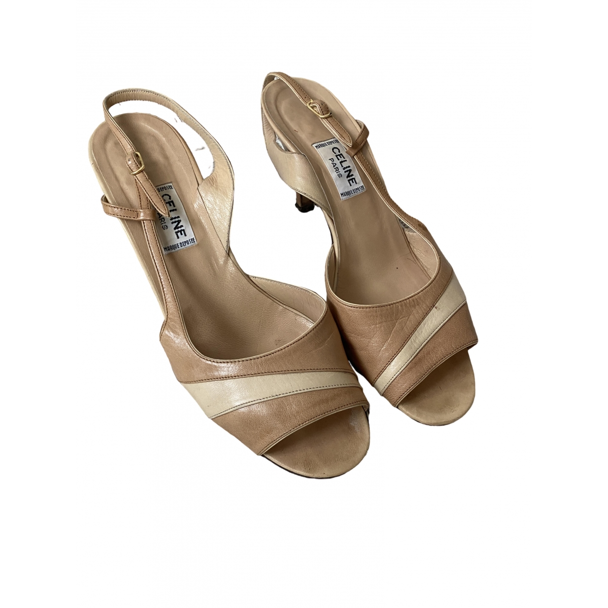 Celine \N Beige Leather Heels for Women 5 UK