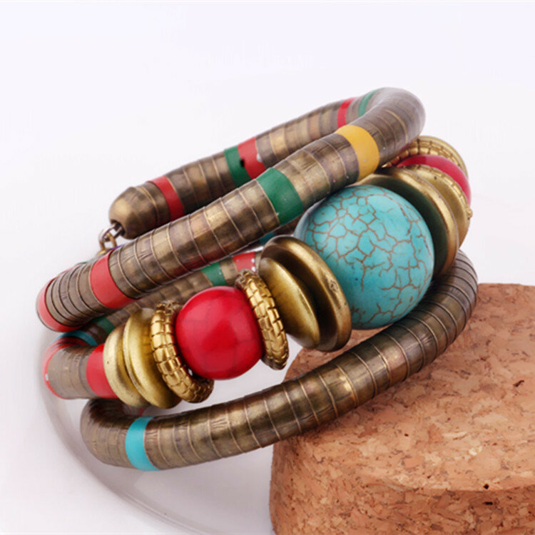 Bohemian Turquoise Beads Tibetan Buddhist Wood Resin Multilayer Bracelets for Women