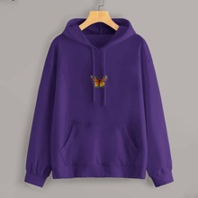 Butterfly Patched Kangaroo Pocket Hoodie