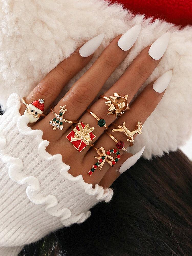8 Pcs Christmas Ring Set Point Diamond Christmas Tree Santa Bow Knot Elk Ring Gift