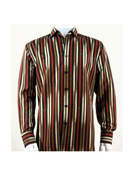 Full Cut Long Sleeve Pattern Stripe Red ~ Gold Fashion Shirt