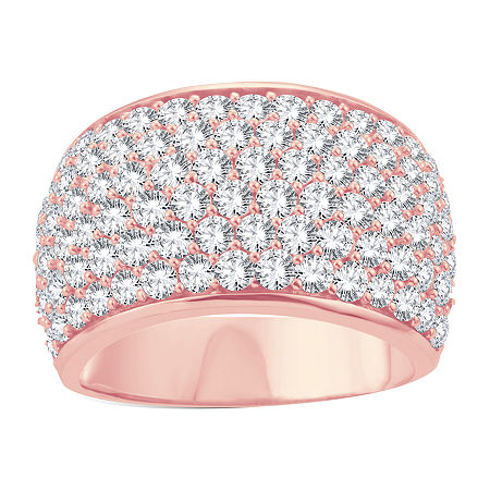Womens 3 CT. T.W. Lab Grown White Diamond 10K Rose Gold Cocktail Ring, 9 , No Color Family