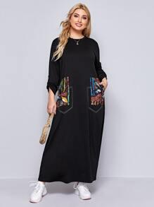 Plus Roll Tab Sleeve Contrast Stitch Contrast Patch Pocket Dress