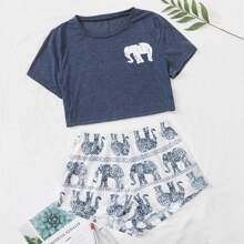 Tribal Elephant Print Pajama Set