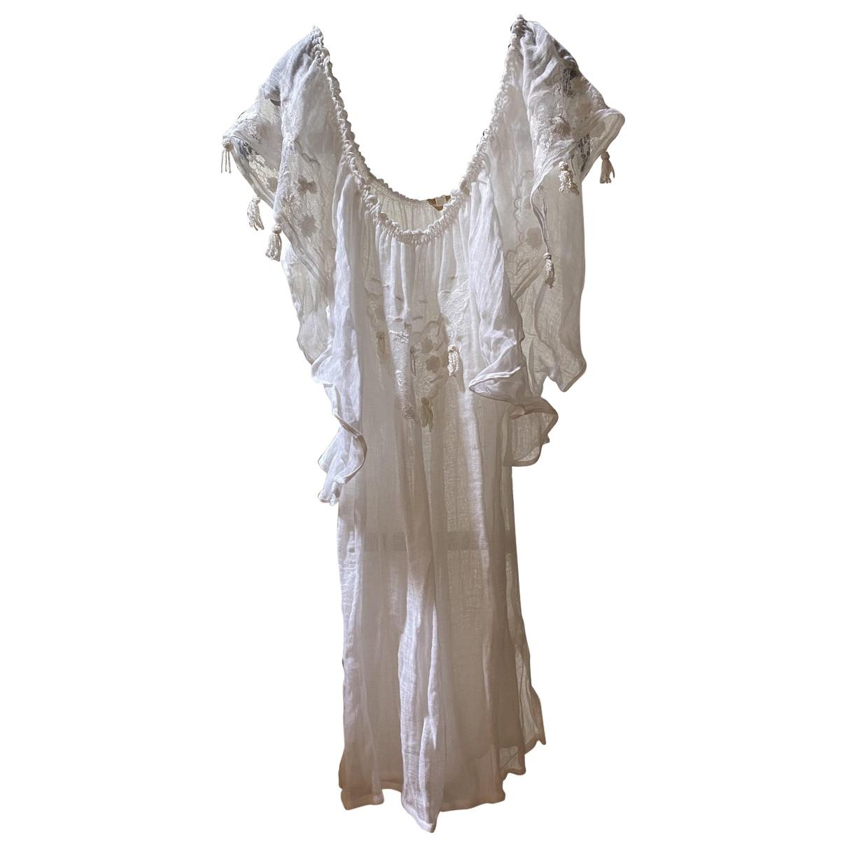 Emamo \N Kleid in  Weiss Leinen