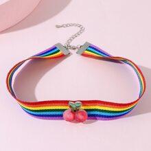 Maedchen Halskette mit Kirsche Dekor und Regenbogen Streifen