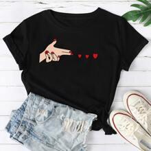 Schwarz Zahlen  Laessig T-Shirts Grosse Grossen