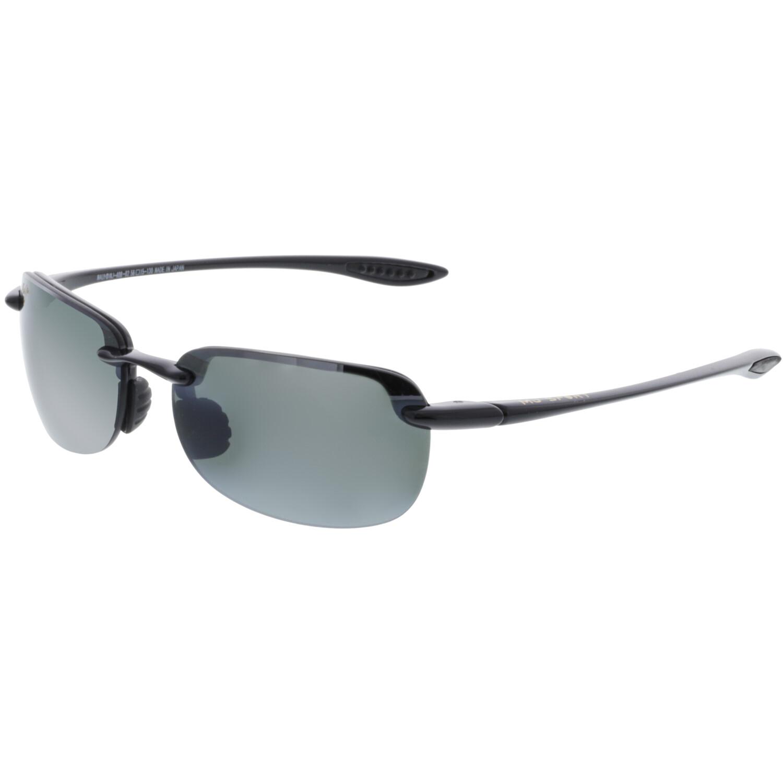 Maui Jim Men's Polarized Sandy Beach 408-02 Black Semi-Rimless Sunglasses