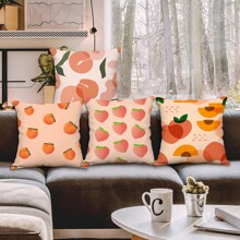 1pc Peach Print Cushion Cover Without Filler