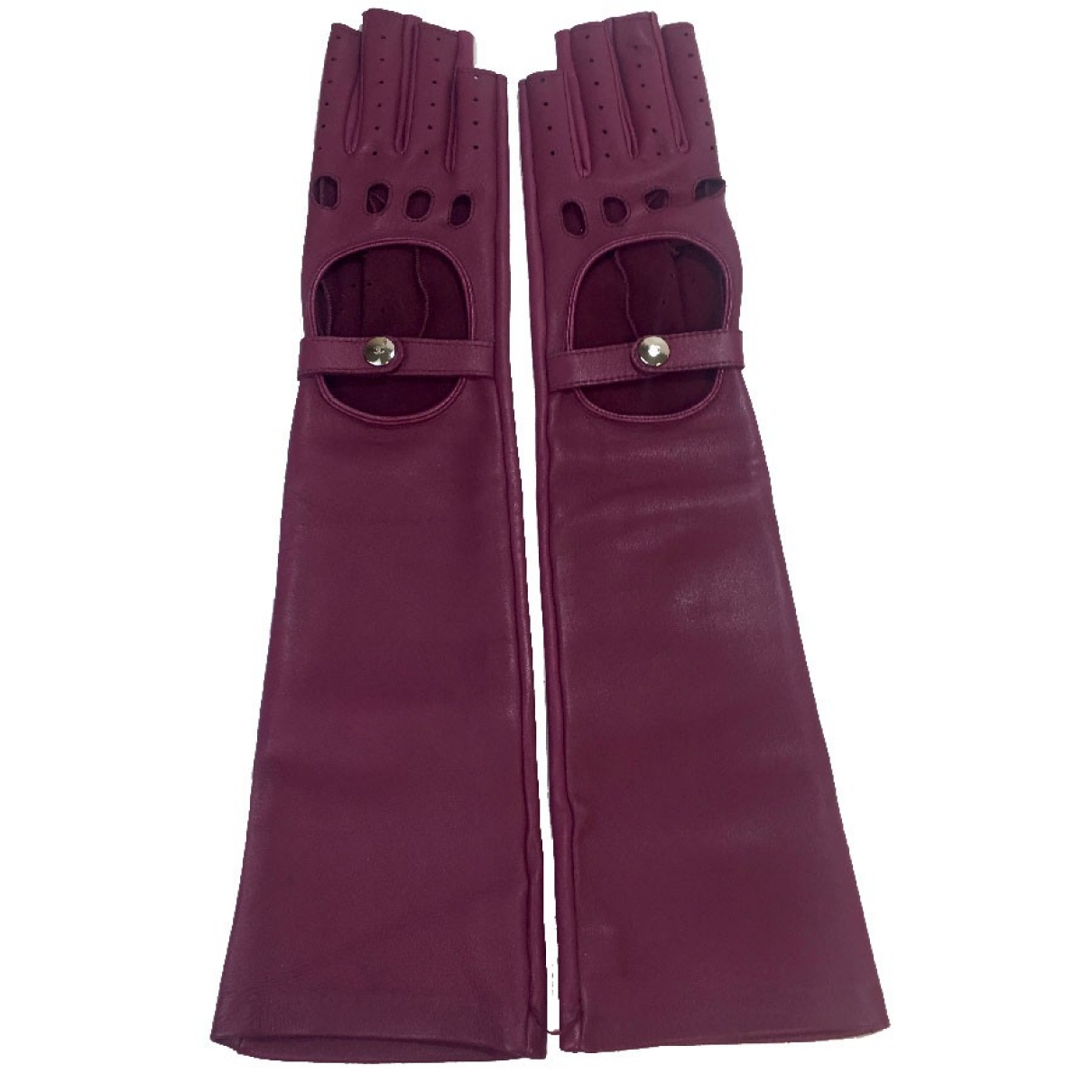 Chanel \N Purple Leather Gloves for Women 18 cm