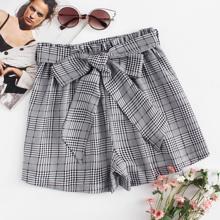 Self Tie Waist Plaid Shorts
