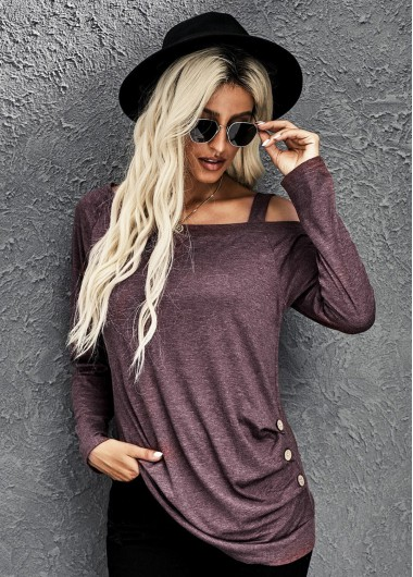 Strappy Cold Shoulder Long Sleeve Ruched T Shirt - S