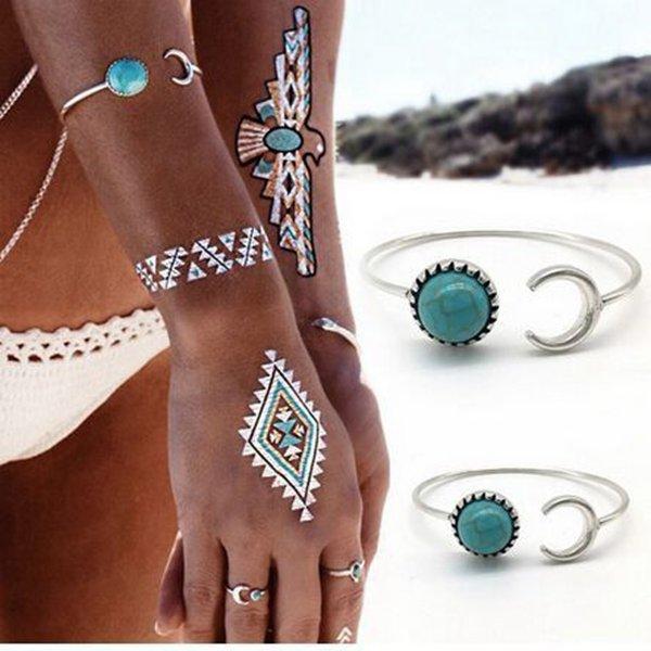 Vintage Bangle Bracelet Imitation Turquoise Adjustable Cuff Bracelet Ethnic Jewelry for Women