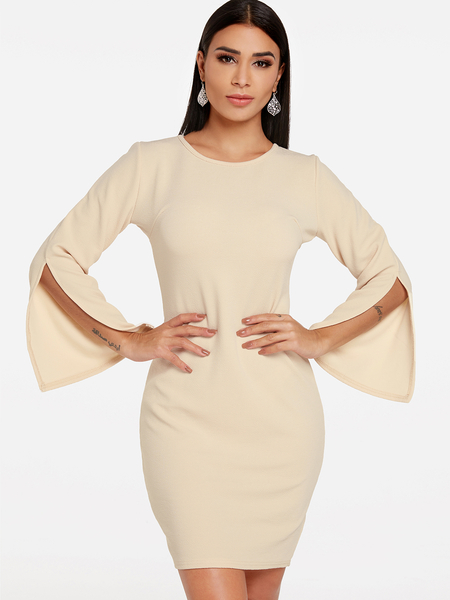 Yoins Apricot Slit Design Plain Round Neck slit Sleeves Dress