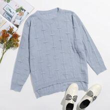 Einfarbiger Pullover mit Stufensaum