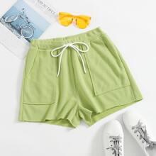 Slant Pocket Drawstring Waist Knit Shorts