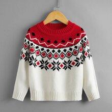 Pullover mit Argyle Muster und Farbblock