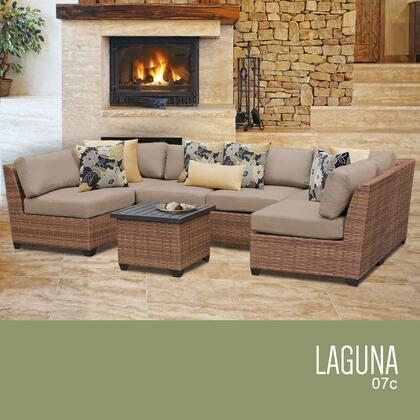 LAGUNA-07c-WHEAT Laguna 7 Piece Outdoor Wicker Patio Furniture Set 07c with 2 Covers: Wheat and