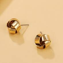 Metal Braided Stud Earrings