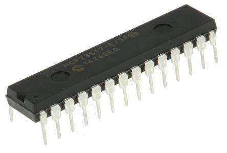 Microchip MCP23S17-E/SP, 16-Channel I/O Expander 10MHz, SPI, 28-Pin PDIP (15)