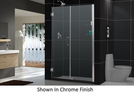 SHDR-20547210CS-04 Unidoor 54-55 In. W X 72 In. H Frameless Hinged Shower Door With Shelves In Brushed