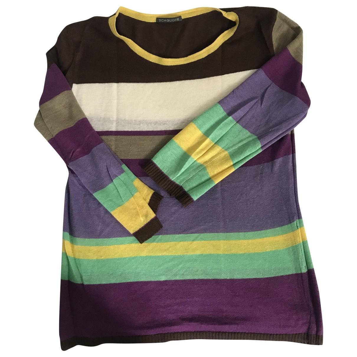 Scaglione - Pull   pour femme en coton - multicolore