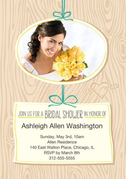 Bridal Shower 5x7 Cards, Premium Cardstock 120lb with Rounded Corners, Card & Stationery -Carved in Wood Shower the Bride